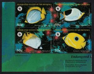Micronesia WWF Butterflyfishes 4v Block of 4 SG#579-582 CV£9.2