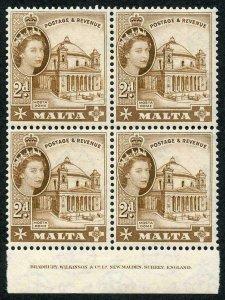 Malta SG270 2d Brown U/M imprint Block