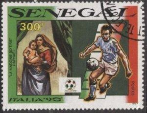 Senegal 882 (used cto) 300fr soccer / football, Italia '90