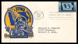 #942 Iowa Statehood – Cachet Craft Boll Cachet ev20