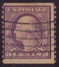 US Sc 456 (1916) 3c Washington Used Perf.10 Vertically F-VF CV $180