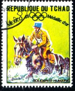 Horse Equestrian, 1968 Olympics Mexico, Chad stamp SC#192 used