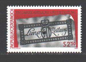 Austria. 1980. 1657. Press Gaeta Linze Zeitung. MNH.