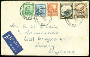 EDW1949SELL : NEW ZEALAND 1946 Air Mail cover from Papanui to Great Britain.