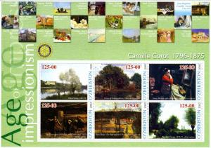 UZBEKISTAN 2002 Camille Corot Paintings Sheet Perforated mnh.vf