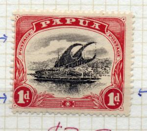 Papua sg 67 1d wmk sideways, var blotch retouch in value A postage at left da...