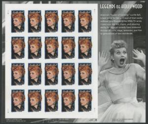 #3523a LUCILLE BALL DIE CUTTING OMITTED PANE OF 20 MAJOR ERROR WLM6697
