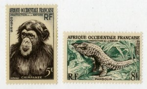 FRENCH WEST AFRICA 62-3 MH SCV $4.00 BIN $1.75 CHIMP, PANGOLIN