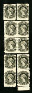 Nova Scotia Stamps # 8 F-VF Scarce lot of 10 NH Scott Value $300.00