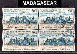 Madagascar Scott C89  VF CTO NH block of 4.