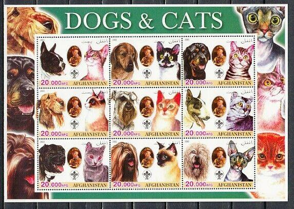 Afghanistan, 2003 Cinderella issue. Cats & Dogs sheet of 9. Scout in design.