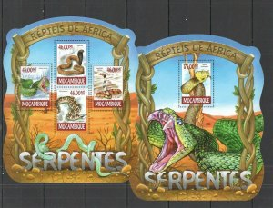 ST2328 2015 MOZAMBIQUE REPTILES FAUNA SNAKES KB+BL MNH