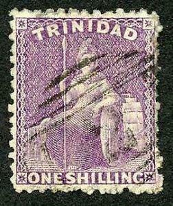 Trinidad SG73a 1/- Lilac Rose Wmk Crown CC Perf 12.5 Fine used