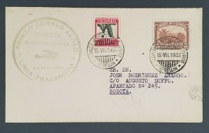 1933 Medellin to Bogota Colombia First Flight Air Mail Cover