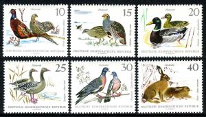 Germany DDR/GDR 998-1003, MNH. Birds.Pheasants,Partridges,Mallards,Geese,1968