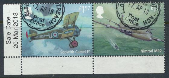 GB RAF 2018 issue £1.57    se-tenant pair Used  Aircraft