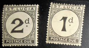 St. Lucia 1933 Postage Dues 1d and 2d mint Scott #J1 & J2 Free US Shipping