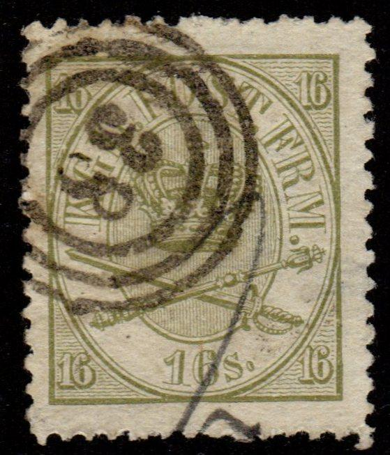 Denmark - Scott #15 Used (Royal Emblems)