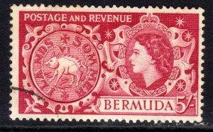 Bermuda 1953 - 62 QE2 5/-d Carmine Used SG 148 ( J675 )