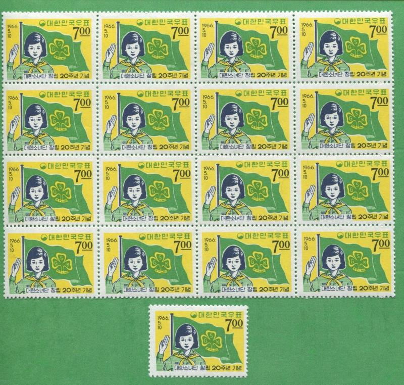 Lot of 17 - 1966 Korea Stamps 510 Cat Value $41 Korean Girl Scouts