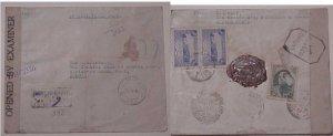 IRAN PERSIA CENSORED REGISTERED COVER JAN 1944 BANDARABBAS