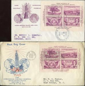 #778 (2) DIFFERENT GRANDY & BRONESKY (WASH., DC) FDC CACHET BN414