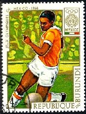 Soccer, 19th Olympic Games, Mexico City 1968, Burundi SC#260 used