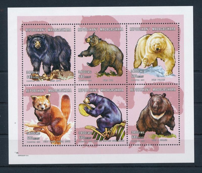 [38776] Madagascar 2001 Wild Animals Mammals Bears MNH Sheet