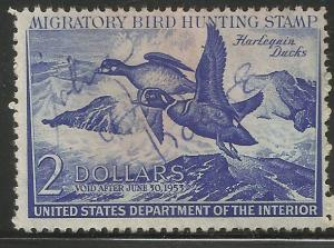 UNITED STATES  RW19  SIGNED, HARELQUIN DUCKS, HUNTING PERMIT STAMP
