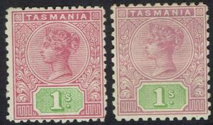 TASMANIA 1906 QV TABLET 1/- - BOTH PERF 12.5 AND PERF 11 WMK CROWN/A