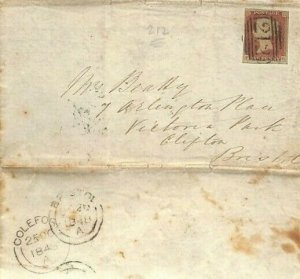 GB LETTER Penny Red Numeral *212* Coleford 1848 Glos {samwells-covers}MS3024