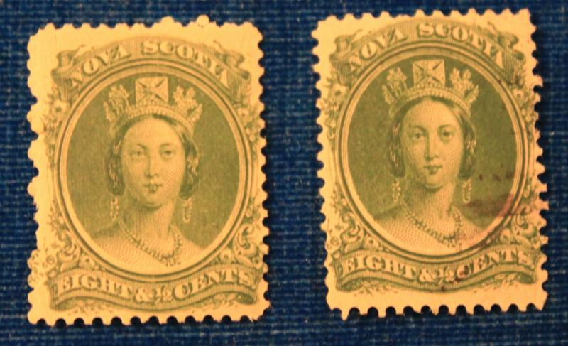 NOVA SCOTIA 8 1/2 GREEN QUEEN VICTORIA MINT & USED SCOTT # 11