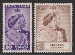 MALAYA - PENANG : 1948 KGVI Silver Wedding set 10c & $5. MNH **.
