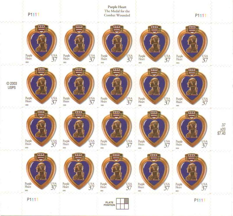 US 3784 - 37¢ Purple Heart Unused