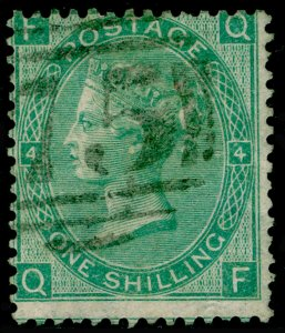 SG101, 1s green plate 4, USED. Cat £225. WMK EMBLEMS. QF