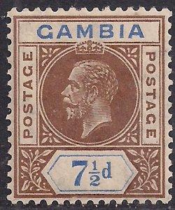 Gambia 1921 - 22 KGV 7 1/2d Brown & Blue MM SG 115 ( D1258 )