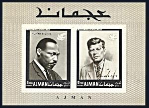 Ajman Michel Block 44A, MNH, M.L. King Jr. and John F. Kennedy souvenir sheet