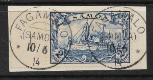 SAMOA  GERMAN 1901  2m   YACHT   FU  on PIECE Sc 68