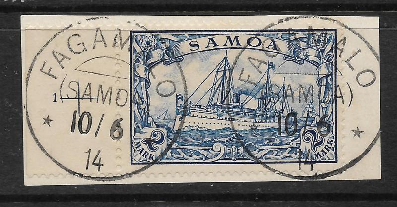 SAMOA  GERMAN 1901  2m   YACHT   FU  on PIECE Sc 68