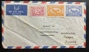 1958 Dhahran Saudi Arabia Airmail Cover To Woodside England Via Seychelles