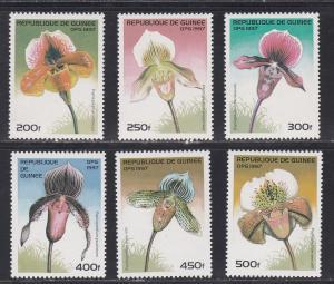 Guinea # 1375-1380 & 1381, Orchids, NH, 1/2 Cat.
