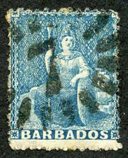 Barbados SG44 1d Blue Wmk Large Star Rough Perf 14 to 16