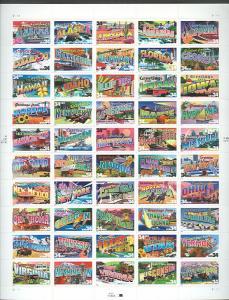 US #3561-10 34¢ Greetings, Sheet of 50