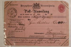 Germany Postal Money Order card Brunswick hg#5 1887 Blankenburg pink 1gr used DC