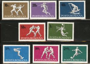 ROMANIA Scott 2070-77 Sports set MNH** 1969
