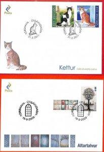 aa3168 - Faroe Islands - POSTAL HISTORY -  2 FDC COVERS: 2011 Cats  +  2009 Art