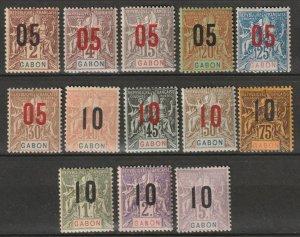 Gabon 1912 Sc 72-84 set MLH*