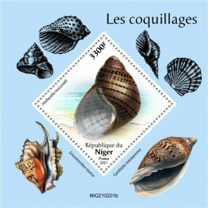 Niger 2021 MNH Seashells Stamps Sea Shells Cymbiola Voluta Marine 1v S/S