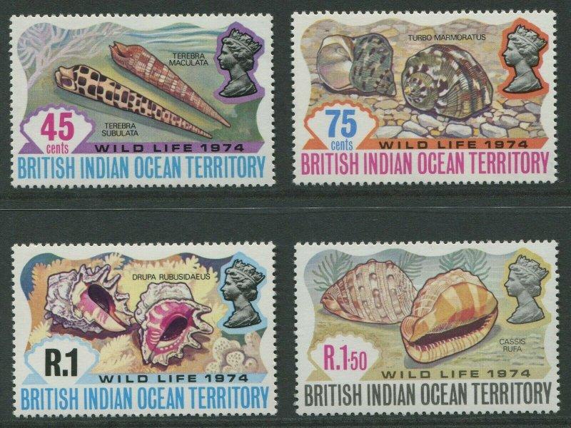 BRITISH INDIAN OCEAN TERRITORY: WILD LIFE 1974 - MNH SET OF FOUR (GO203-PB)