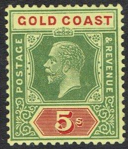GOLD COAST 1913 KGV 5/- DIE II WMK MULTI CROWN CA